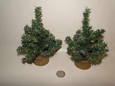 "Lot of 2 -  Christmas Trees, Plastic Brown Tree Trunk Bases Approx 6 3/4"" Tall"