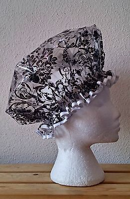 Bespoke Black Damask with Black or White Trim Shower Cap