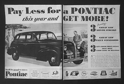 1938 Pontiac Pay Less for a Pontiac Two Page Vintage Print Ad