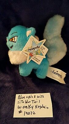 Neopets Wocky blue with white neck + lite blue tail Keychain and paintbrush Tag