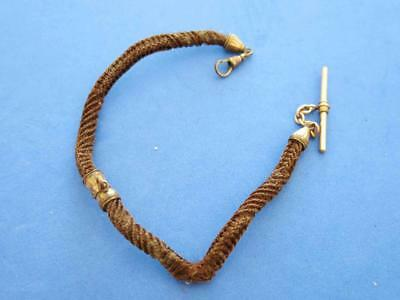 Victorian Pocket Watch Braided Human Hair Mourning Chain Gold Filled Accents
