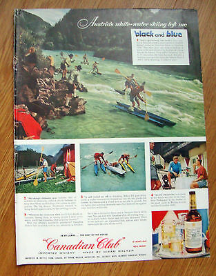 1955 Canadian Club Whiskey Ad Austria White Water Skiing Salzach River