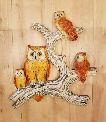 RARE VTG Mid Century Large *FAMILY of OWLS on a BRANCH* Owl Wall Decor ART 1974