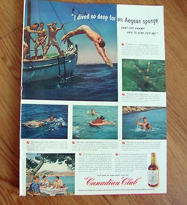 1947 Canadian Club Whiskey Ad Sponge Diver Dodecanese Islands 1947 Camel Cigs Ad
