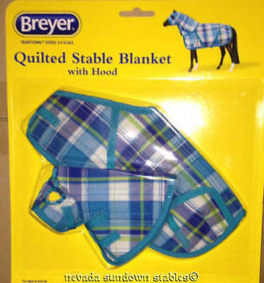 Breyer Model Horse Accessories New Blue Plaid Heavy Quilted Blanket w/Hood