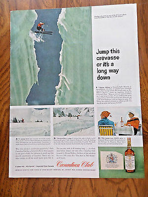 1959 Canadian Club Whiskey Ad A Skiing Valle Blance France Oasis Cigs Paris