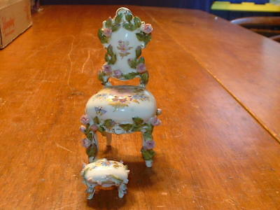 Antique HPTD Meissen KPM Dresden Porcelain Miniature Chair & Foot Stool
