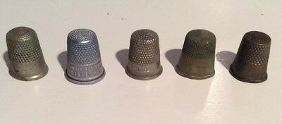 5 Old Antique Vintage Thimbles, one marked England, one Watkins