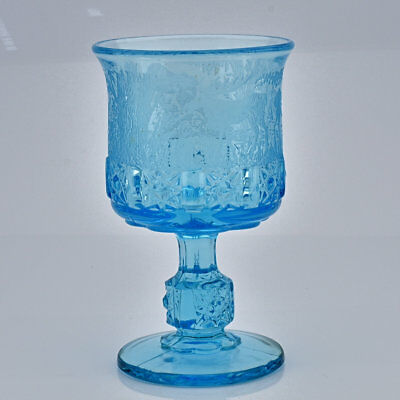Blue Black Forest LG Wright Fenton Etched Daisy & Cube Glass Goblet