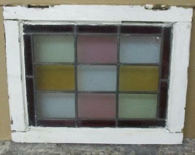 "OLD ENGLISH LEADED STAINED GLASS WINDOW Pretty Victorian Squares 14.5"" x 18.5"""