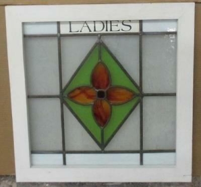 "OLD ENGLISH LEADED STAINED GLASS WINDOW ""Ladies"" Pretty Floral 21.5"" x 21.75"""