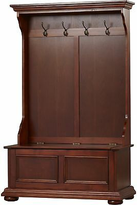 Hall Tree Storage Bench Coat Rack Hooks Clothes Entryway Mudroom Furniture