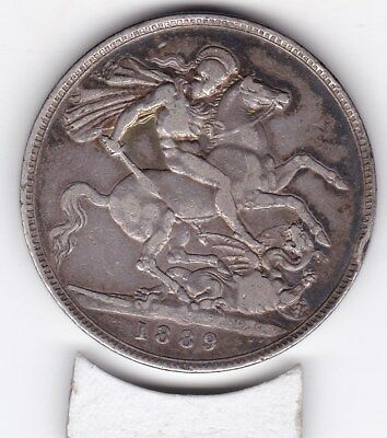 1889  Queen Victoria Large Crown / Five Shilling Coin  from Great Britain