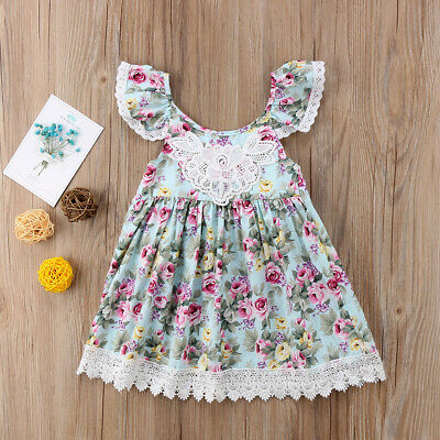 Baby Girl Flower Lace Birthday Party Dress Pageant Party Princess Maxi Dress AU
