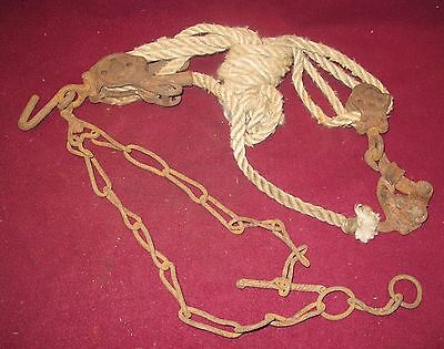 Antique Vintage Block & Tackle Cast Iron Dbl Sheave Pulley Fence Stretcher Rope