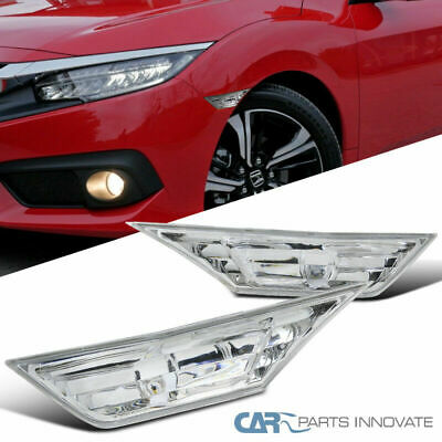 For 16-18 Honda Civic Clear Side Markers Lamps Signals Lights+T10 SMD LED Bulbs