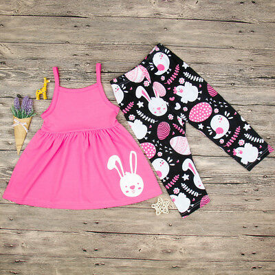 AU Toddler Baby Girls Easter Party Tops Dress Sundress Pants Outfits Set Clothes