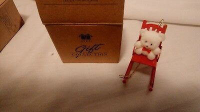 Avon Teddy Bear Ornament Christmas Collection Teddy On Rocker New In Box