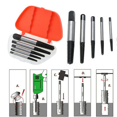 5pcs Screw Extractor Drill Bit Guide Broken Damaged Bolt Remover Easy Out Metric