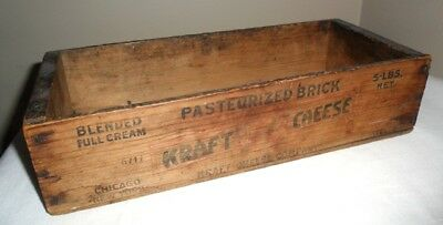 Vintage Wood Box KRAFT -BLENDED FULL CREAM Pasteurized CHEESE 5LB- Chicago