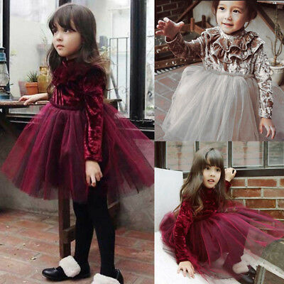 AU Kids Baby Girls Dress Velvet Princess Party Dress Lace Tulle Dresses Clothing