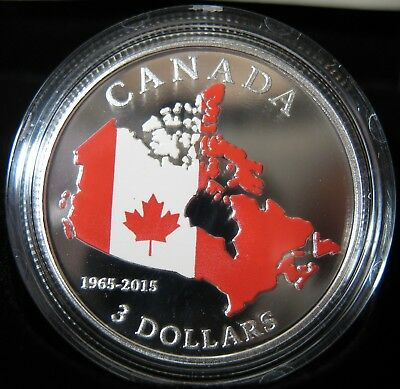 2015 - $3 - 50th Anniv. of Canadian Flag - .9999 Silver - Proof - Mint as Issued