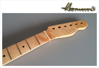 Flamed Maple Telecaster Replacement Neck, Finish: Nature High Gloss, 22 Frets