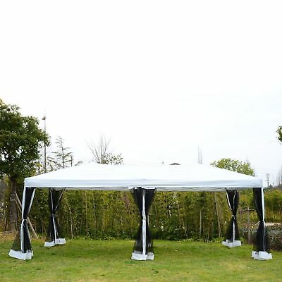 Outsunny 10'x20' Pop Up Party Tent Gazebo Wedding Canopy with 6 Mesh Walls White