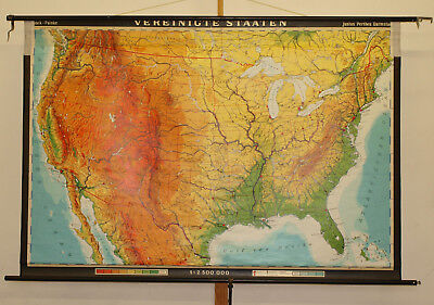 german school wall map of United States USA physical 195x132cm vintage loft 1978