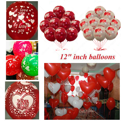 25-100 Latex Love Heart Shape Balloons Red Colour Birthday Wedding Mothers Day