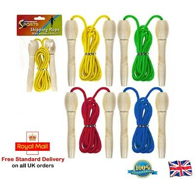Wooden Handle Skipping Rope Jump Boxing Fitness Speed Jump Rope Training 7ft UK