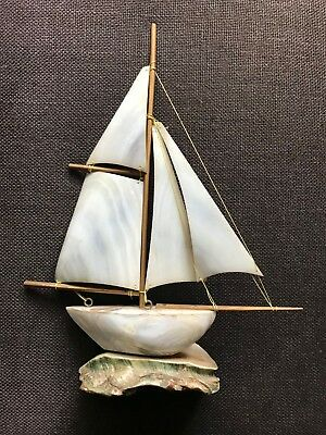 Antique Mother of Pearl Brass Figural Sailing Ship Boat Sculpture Lovely piece