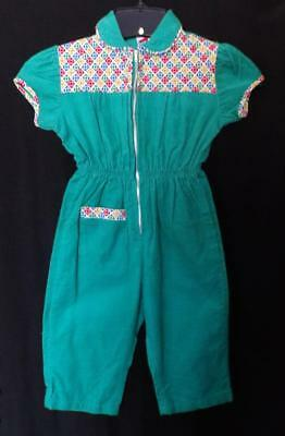 VTG 70s TODDLER GIRLS GREEN CORDOROY ZIP FRONT JUMPSUIT PANTS TOP NEW OLD 2 3
