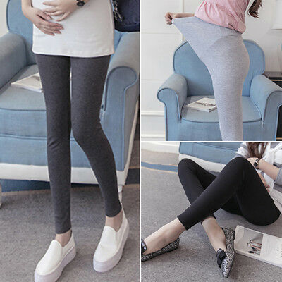 Pregnant Women Skinny Maternity Pants Over Bump Slim Pencil High Waist Trousers