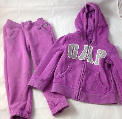 Baby Gap Girls Pink/Purple Glitter  Tracksuit Hooded Top And Bottoms Age 3