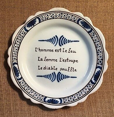 Faience plate Antique Quimper plate with French motto