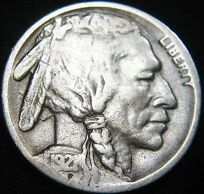 BOLD KEY Date 1921-S BUFFALO NICKEL 5c! Free S&H! LOW Mintage 1.5 million EK66UJ