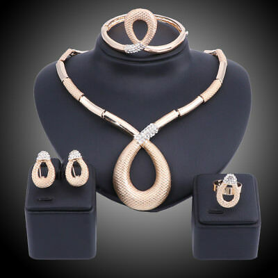 Gold Plated Crystal Necklace Earring Ring Bangle Wedding Party Jewelry Set