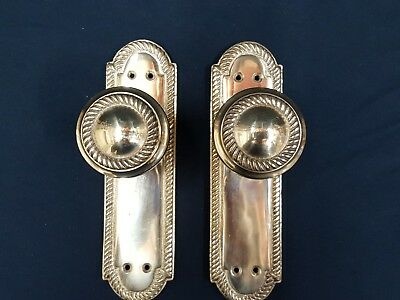 Georgian Style Solid Brass Door Knobs on Blackplate -  (5/5 avail in our shop)