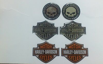 Harley Davidson 6X 3D Emblem Decal Aufkleber Domed B&S + Willie-Set-WOW! NEU