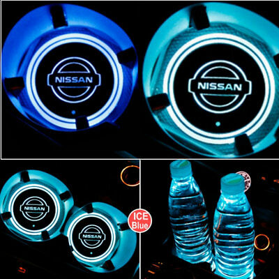 For Nissan Logo light Badge Emblem LED Car Cup Holder Mat Pad Atmosphere Lamp
