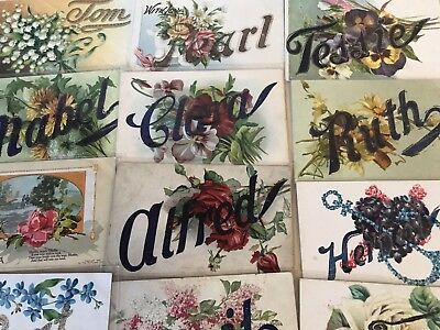 Lot of 26 Antique Large Letter First Names Vintage Name Greetings Postcards-p144