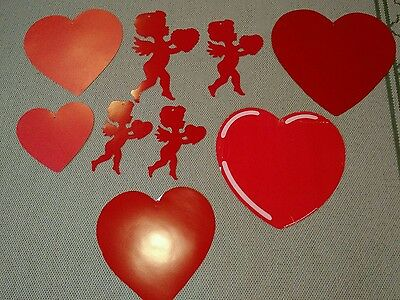 Lot Of 9 Die-Cut Paper Valentine's Day Decorations 5 Hearts 4 Cupids