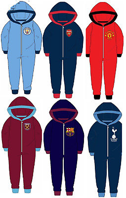 Children's Boys Official Football Club Fleece Hooded All In One Age 3-12 Years