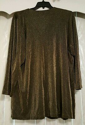 Kathleen Usherwood SHIRT 3X Black and Gold Material NEIMAN MARCUS Good condition