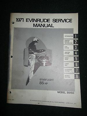 1971 Evinrude Outboard Service Repair Manual Starflight 85 HP 85193 Starflite