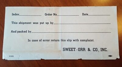SWEET-ORR Union Made Overalls & Jeans * 1921 Packing Slip * Newburgh NY