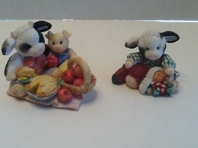 Enesco Mary Moo Moos Lot 2 Figurines Herd You Were Very Good Calf, Apple Of My E