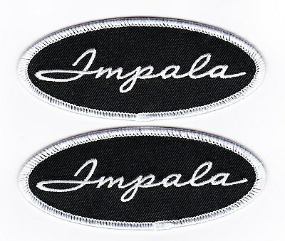 2 BLACK WHITE IMPALA 1.5x4 SEW/IRON ON PATCH EMBROIDERED CHEVY LOWRIDER