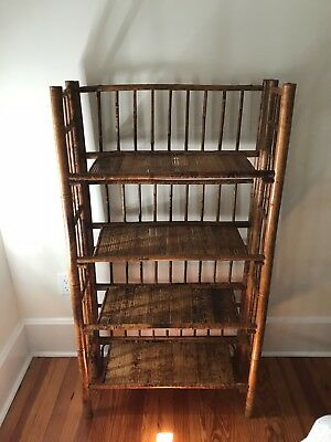 Antique 19th Century Burnt Bamboo Small Book Shelf Case
